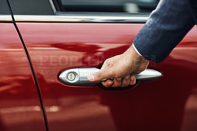 Buy stock photo Cropped shot of an unrecognizable man opening  the door of his vehicle