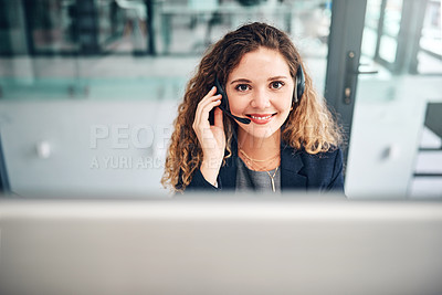 Buy stock photo Portrait of a young businesswoman working in a call centre