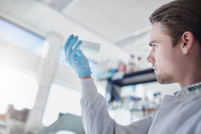 Buy stock photo Shot of a young scientist conducting an experiment in a modern laboratory