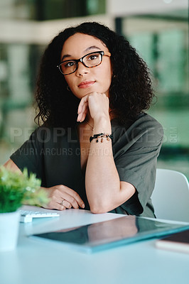 Buy stock photo Cropped shot of a young businesswoman at the office