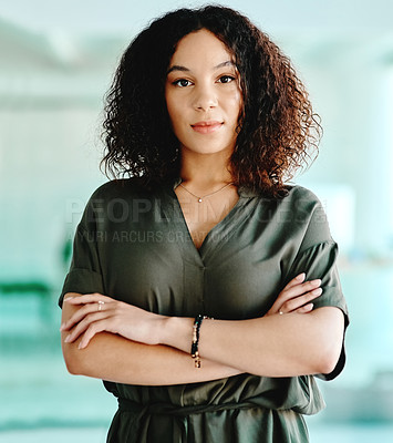Buy stock photo Portrait shot of a young businesswoman at the office