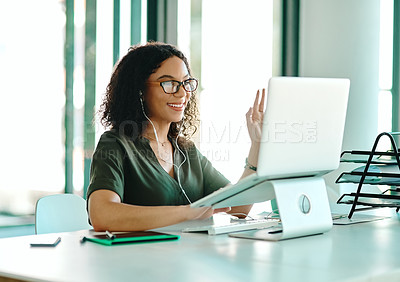 Buy stock photo Shot of a businesswoman on a video call while sitting at her desk