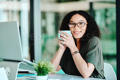 Buy stock photo Cropped shot of a businesswoman having coffee while sitting at her desk