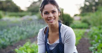 Buy stock photo Cropped portrait of an attractive young female farmer checking on her crops  on the farm
