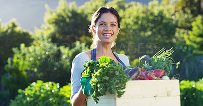 Buy stock photo Cropped portrait of an attractive young female farmer carrying a crate of vegetables while working on her farm