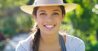 Buy stock photo Cropped portrait of an attractive young female farmer working on her farm