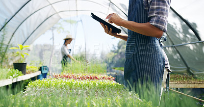 Buy stock photo Cropped shot of an unrecognizable male farmer using a tablet while working in a greenhouse on the farm with his wife in the background