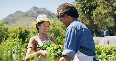 Buy stock photo Cropped shot of an affectionate young couple working together on their farm