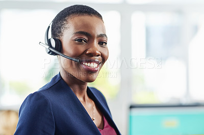 Buy stock photo Portrait of a young call centre agent standing in an office