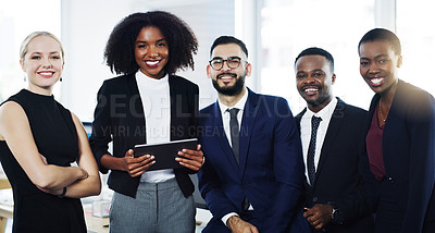 Buy stock photo Portrait of a diverse group of businesspeople standing together in an office