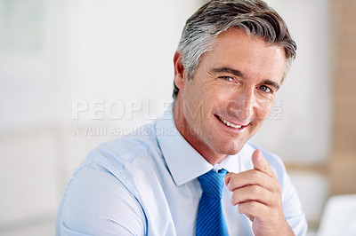 Buy stock photo Portrait of a confident mature businessman wearing a suit and sitting indoors while pointing at the camera