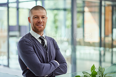 Buy stock photo Portrait of a handsome middle aged  businessman standing inside of the office