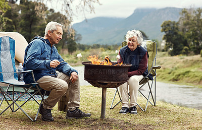 Buy stock photo Full length shot of an affectionate senior couple roasting marshmallows while relaxing at their chosen camping spot