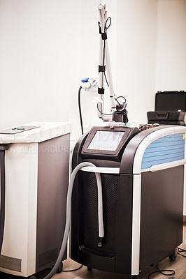 Buy stock photo Still life shot of a laser treatment machine at a beauty clinic