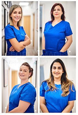 Buy stock photo Composite shot of attractive young female nurses at a clinic