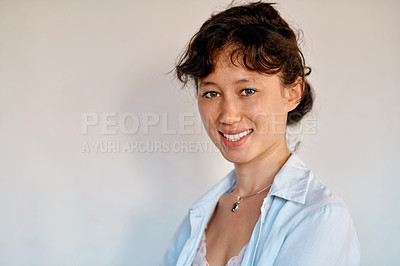 Buy stock photo Portrait of a confident young woman