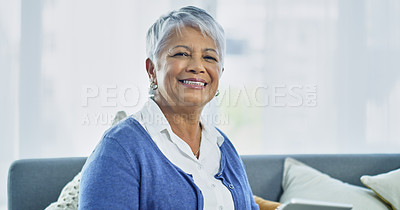 Buy stock photo Cropped shot of a senior woman smiling at the camera
