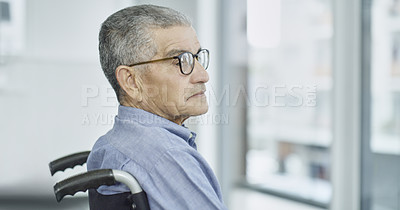 Buy stock photo Cropped shot of a senior man sitting in a wheelchair