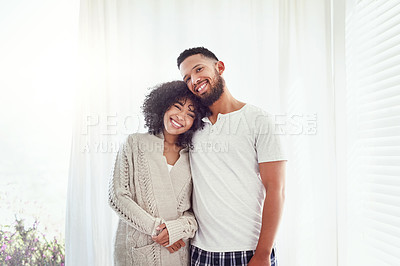 Buy stock photo Cropped portrait of an affectionate young couple standing in their bedroom at home