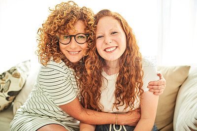 Buy stock photo Portrait of a beautiful mother and daughter spending some quality time together at home