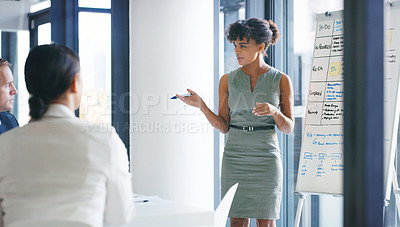Buy stock photo Shot of a businesswoman giving a presentation to her colleagues in a boardroom
