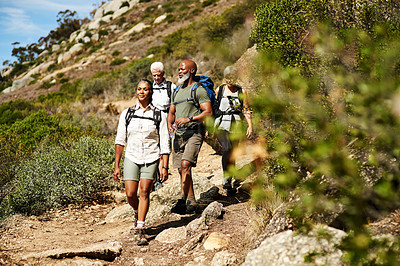 Buy stock photo Shot of a group of senior friends out hiking on a sunny day