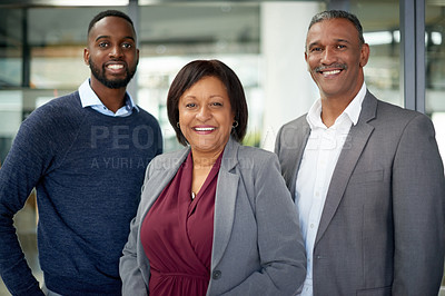 Buy stock photo Portrait of a group of corporate businesspeople posing together in an office