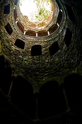 Buy stock photo Low angle shot inside a tower of a historical ancient building in Sintra, Portugal