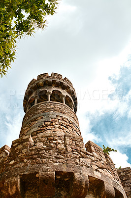 Buy stock photo Cropped shot of an ancient castle