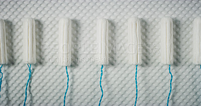 Buy stock photo Studio shot of tampons in a row