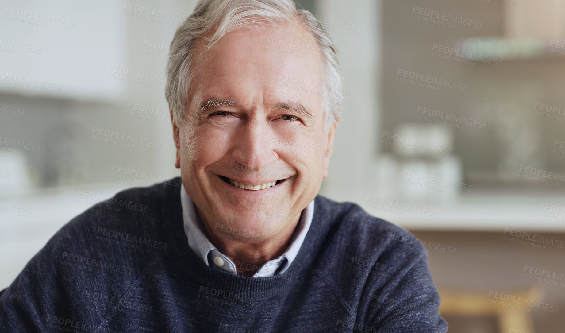 Buy stock photo Portrait of a happy senior man relaxing at home