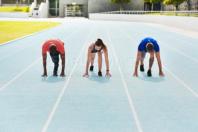 Buy stock photo Full length shot of three young athletes in the