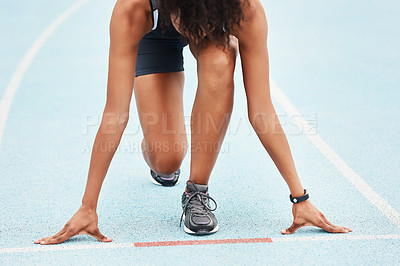 Buy stock photo Cropped shot of an unrecognizable young female athlete standing in the