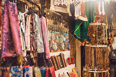 Buy stock photo Shot of various products at a market stall