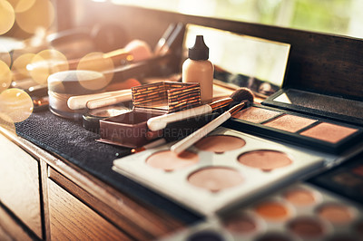 Buy stock photo Shot of a collection of makeup