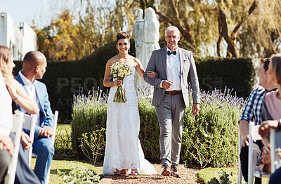 Buy stock photo Full length shot of an affectionate mature father walking his daughter down the aisle on her wedding day