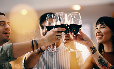Buy stock photo Cropped shot of a group of friends making a celebratory toast