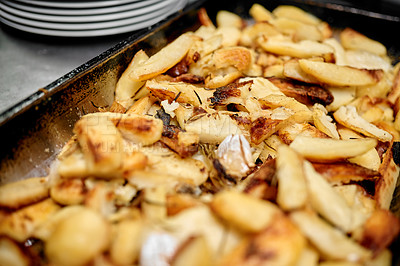 Buy stock photo Closeup shot of freshly made over baked chips in a restaurant