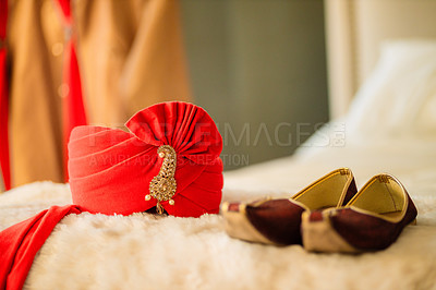 Buy stock photo Shot of men's shoes on a bed before a wedding ceremony