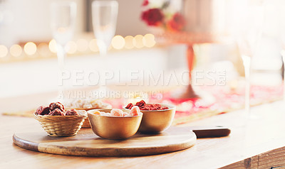 Buy stock photo Shot of bowls of snacks on a table at a wedding reception