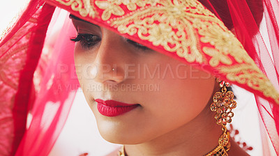 Buy stock photo Cropped shot of a young woman covering her hair with a veil on her wedding day