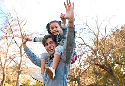 Buy stock photo Shot of an adorable little girl having fun with her father at the park