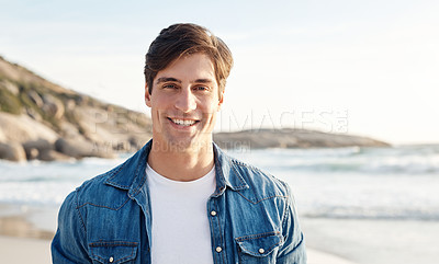 Buy stock photo Portrait of a middle aged man spending the day at the beach
