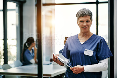 Buy stock photo Portrait of a mature female nurse using a digital tablet at a hospital with her colleagues in the background