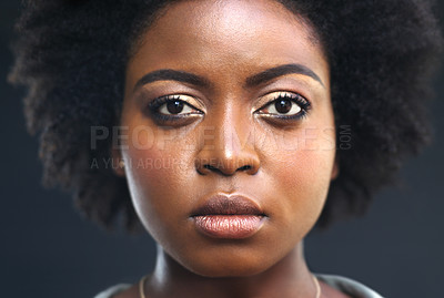 Buy stock photo Portrait of a young woman looking at the camera