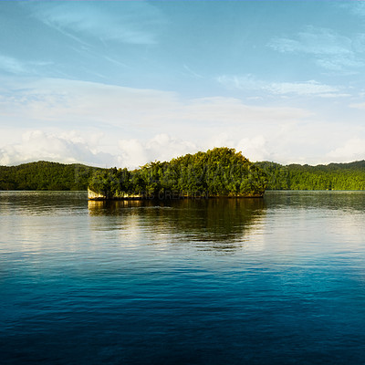 Buy stock photo Cropped shot of a beautiful island on a quiet lake