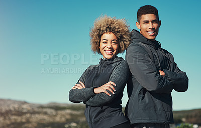 Buy stock photo Portrait of a happy young couple out for a run