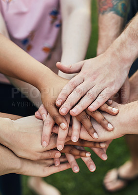 Buy stock photo Shot of a group of unrecognizable people stacking their hands