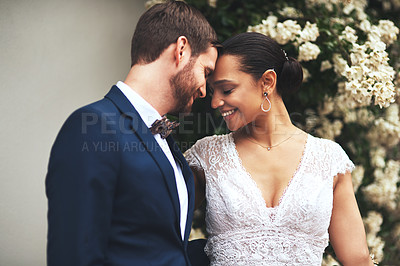 Buy stock photo Shot of a happy newlywed young couple posing together on their wedding day