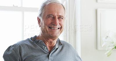 Buy stock photo Portrait of a senior man spending a relaxing day at home